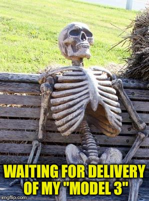 "Waiting Skeleton Meme | WAITING FOR DELIVERY OF MY ""MODEL 3"" 