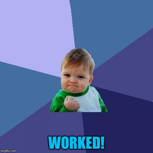 Success Kid Meme | WORKED! | image tagged in memes,success kid | made w/ Imgflip meme maker