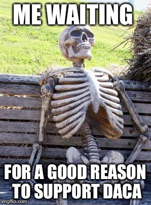 Waiting Skeleton Meme | ME WAITING FOR A GOOD REASON TO SUPPORT DACA | image tagged in memes,waiting skeleton | made w/ Imgflip meme maker