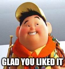 Russell | GLAD YOU LIKED IT | image tagged in russell | made w/ Imgflip meme maker
