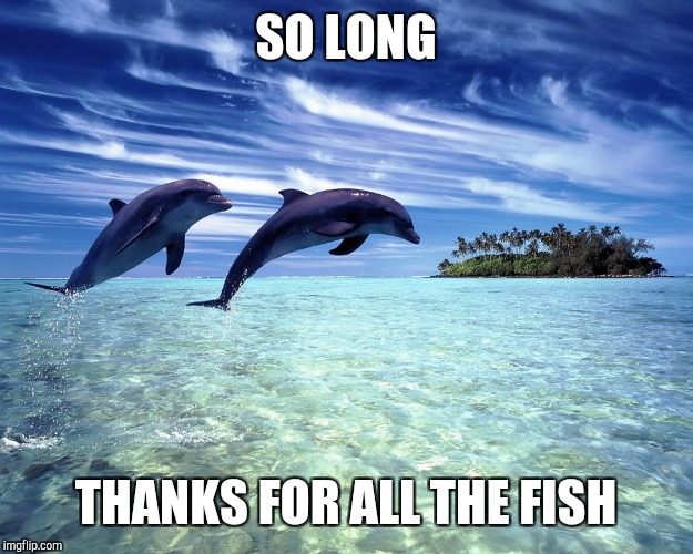 So long. Thanks for all the fish | SO LONG THANKS FOR ALL THE FISH | image tagged in dolphin jump,memes,roll safe think about it,think | made w/ Imgflip meme maker