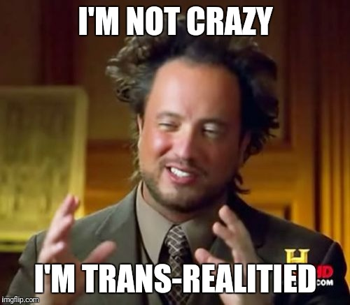Ancient Aliens Meme | I'M NOT CRAZY I'M TRANS-REALITIED | image tagged in memes,ancient aliens | made w/ Imgflip meme maker