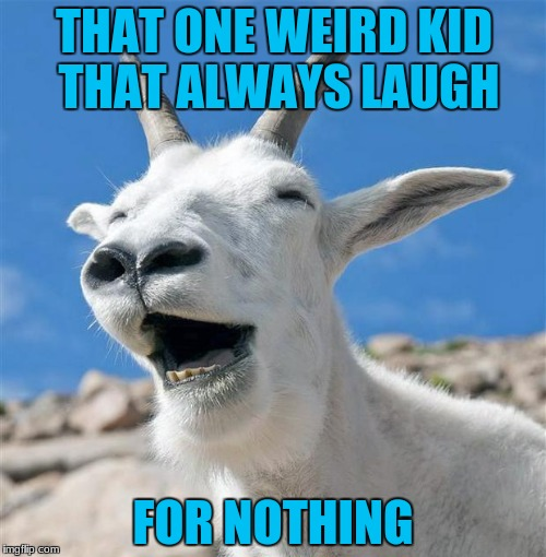 Laughing Goat |  THAT ONE WEIRD KID THAT ALWAYS LAUGH; FOR NOTHING | image tagged in memes,laughing goat | made w/ Imgflip meme maker
