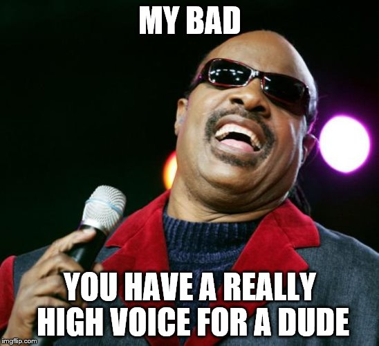 MY BAD YOU HAVE A REALLY HIGH VOICE FOR A DUDE | made w/ Imgflip meme maker