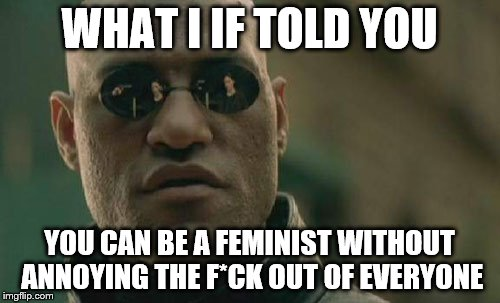 Matrix Morpheus Meme | WHAT I IF TOLD YOU YOU CAN BE A FEMINIST WITHOUT ANNOYING THE F*CK OUT OF EVERYONE | image tagged in memes,matrix morpheus | made w/ Imgflip meme maker