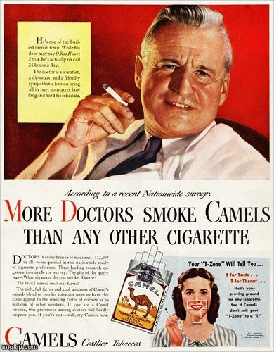 This would never fly today. | image tagged in smoking,doctors,doctor,advertisement | made w/ Imgflip meme maker