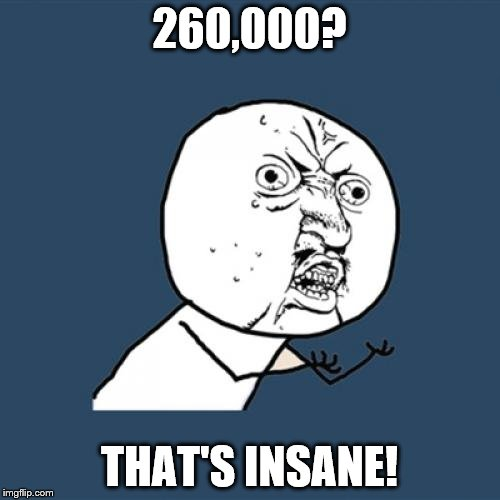 Y U No Meme | 260,000? THAT'S INSANE! | image tagged in memes,y u no | made w/ Imgflip meme maker