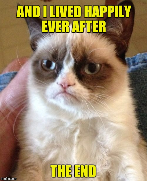 Grumpy Cat Meme | AND I LIVED HAPPILY EVER AFTER THE END | image tagged in memes,grumpy cat | made w/ Imgflip meme maker