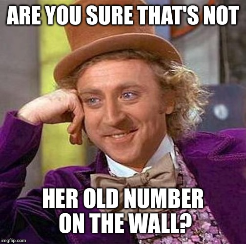 Creepy Condescending Wonka Meme | ARE YOU SURE THAT'S NOT HER OLD NUMBER ON THE WALL? | image tagged in memes,creepy condescending wonka | made w/ Imgflip meme maker