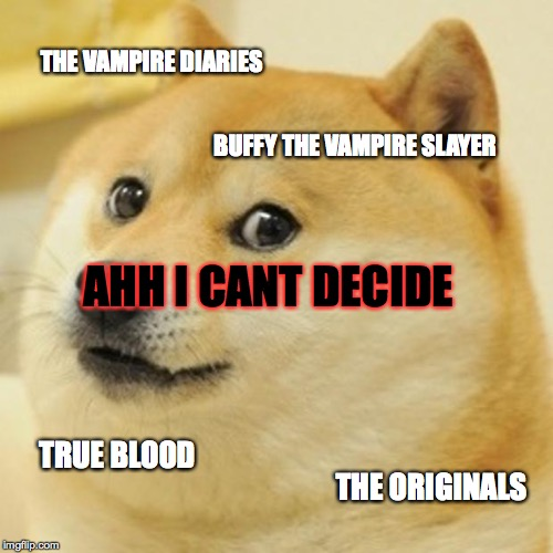 Doge Meme | THE VAMPIRE DIARIES BUFFY THE VAMPIRE SLAYER AHH I CANT DECIDE TRUE BLOOD THE ORIGINALS | image tagged in memes,doge | made w/ Imgflip meme maker