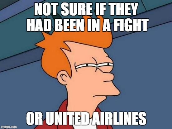 confused lol | NOT SURE IF THEY HAD BEEN IN A FIGHT OR UNITED AIRLINES | image tagged in memes,futurama fry | made w/ Imgflip meme maker