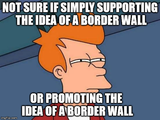 Futurama Fry Meme | NOT SURE IF SIMPLY SUPPORTING THE IDEA OF A BORDER WALL OR PROMOTING THE IDEA OF A BORDER WALL | image tagged in memes,futurama fry | made w/ Imgflip meme maker