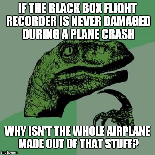 Philosoraptor does Carlin |  IF THE BLACK BOX FLIGHT RECORDER IS NEVER DAMAGED DURING A PLANE CRASH; WHY ISN'T THE WHOLE AIRPLANE MADE OUT OF THAT STUFF? | image tagged in memes,philosoraptor,george carlin | made w/ Imgflip meme maker