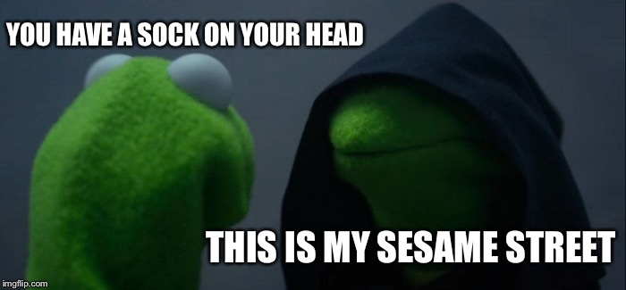 Kermits last words... | YOU HAVE A SOCK ON YOUR HEAD THIS IS MY SESAME STREET | image tagged in memes,evil kermit,kermit the frog,kermit,evil kermit meme | made w/ Imgflip meme maker