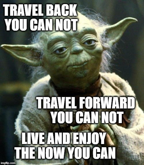 Star Wars Yoda Meme | TRAVEL BACK YOU CAN NOT LIVE AND ENJOY THE NOW YOU CAN TRAVEL FORWARD YOU CAN NOT | image tagged in memes,star wars yoda | made w/ Imgflip meme maker