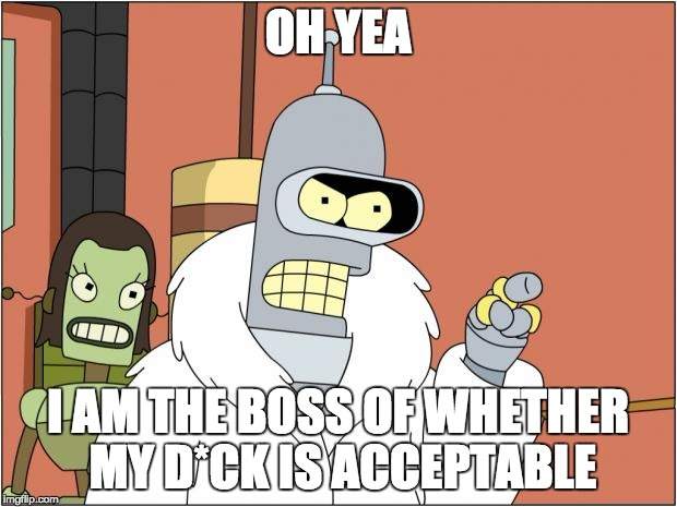 Bender Meme | OH YEA I AM THE BOSS OF WHETHER MY D*CK IS ACCEPTABLE | image tagged in memes,bender | made w/ Imgflip meme maker