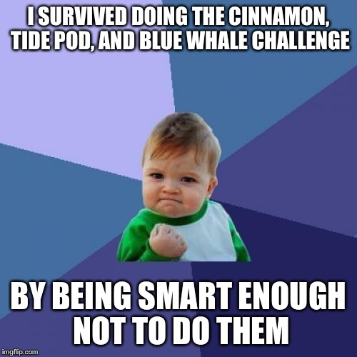 Success Kid Meme | I SURVIVED DOING THE CINNAMON, TIDE POD, AND BLUE WHALE CHALLENGE BY BEING SMART ENOUGH NOT TO DO THEM | image tagged in memes,success kid | made w/ Imgflip meme maker