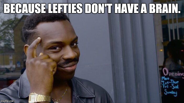 Roll Safe Think About It Meme | BECAUSE LEFTIES DON'T HAVE A BRAIN. | image tagged in memes,roll safe think about it | made w/ Imgflip meme maker