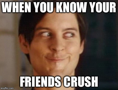 Spiderman Peter Parker Meme | WHEN YOU KNOW YOUR FRIENDS CRUSH | image tagged in memes,spiderman peter parker | made w/ Imgflip meme maker