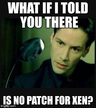 There is no spoon | WHAT IF I TOLD YOU THERE IS NO PATCH FOR XEN? | image tagged in there is no spoon | made w/ Imgflip meme maker