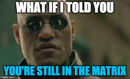Matrix Morpheus Meme | WHAT IF I TOLD YOU YOU'RE STILL IN THE MATRIX | image tagged in memes,matrix morpheus | made w/ Imgflip meme maker
