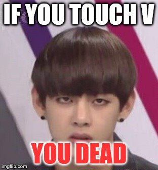 V is mine B**** | IF YOU TOUCH V YOU DEAD | image tagged in bts v | made w/ Imgflip meme maker