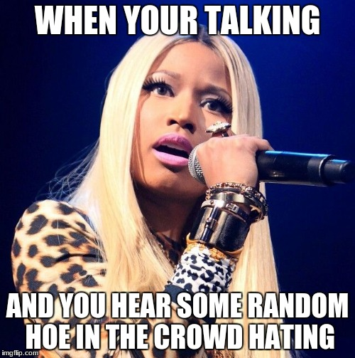 Nicki Minaj | WHEN YOUR TALKING AND YOU HEAR SOME RANDOM HOE IN THE CROWD HATING | image tagged in nicki minaj | made w/ Imgflip meme maker