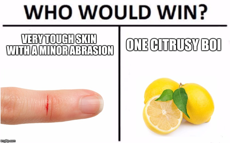 Who Would Win? Meme | VERY TOUGH SKIN WITH A MINOR ABRASION ONE CITRUSY BOI | image tagged in memes,who would win | made w/ Imgflip meme maker