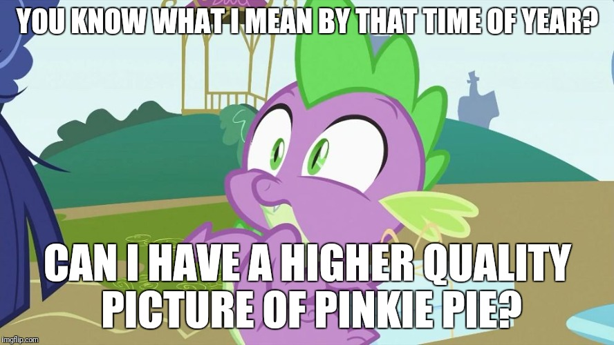 Awful questions strung together by the suggested words on my tablet's keyboard! | YOU KNOW WHAT I MEAN BY THAT TIME OF YEAR? CAN I HAVE A HIGHER QUALITY PICTURE OF PINKIE PIE? | image tagged in spike creeped out,memes,keyboard | made w/ Imgflip meme maker