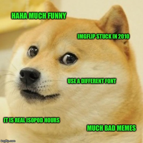 Doge Meme | HAHA MUCH FUNNY IMGFLIP STUCK IN 2010 USE A DIFFERENT FONT IT IS REAL ISOPOD HOURS MUCH BAD MEMES | image tagged in memes,doge | made w/ Imgflip meme maker