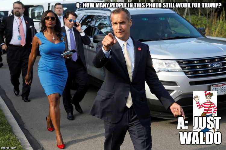 They're going, going, gone!! | Q:  HOW MANY PEOPLE IN THIS PHOTO STILL WORK FOR TRUMP? A:  JUST WALDO | image tagged in trump,funny,memes | made w/ Imgflip meme maker