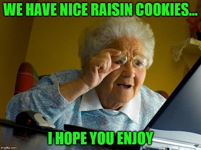 Grandma Finds The Internet Meme | WE HAVE NICE RAISIN COOKIES... I HOPE YOU ENJOY | image tagged in memes,grandma finds the internet | made w/ Imgflip meme maker