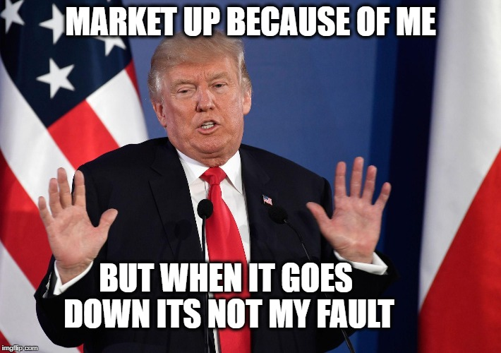 MARKET UP BECAUSE OF ME BUT WHEN IT GOES DOWN ITS NOT MY FAULT | image tagged in trump not me | made w/ Imgflip meme maker