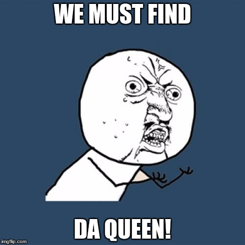 Y U No | WE MUST FIND DA QUEEN! | image tagged in memes,y u no | made w/ Imgflip meme maker