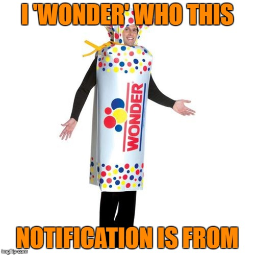 I 'WONDER' WHO THIS NOTIFICATION IS FROM | made w/ Imgflip meme maker