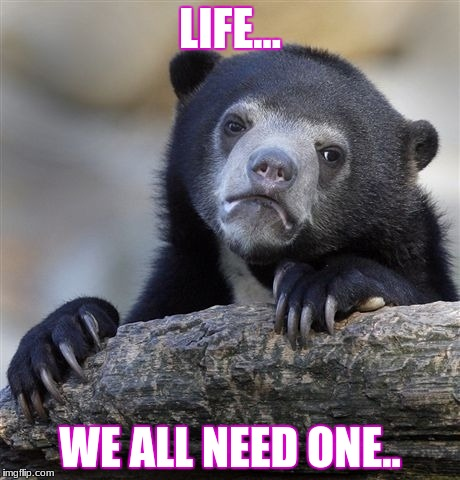 Confession Bear Meme | LIFE... WE ALL NEED ONE.. | image tagged in memes,confession bear | made w/ Imgflip meme maker