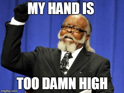 Too Damn High Meme | MY HAND IS TOO DAMN HIGH | image tagged in memes,too damn high | made w/ Imgflip meme maker
