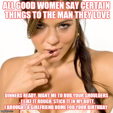 turned on women | ALL GOOD WOMEN SAY CERTAIN THINGS TO THE MAN THEY LOVE DINNERS READY, WANT ME TO RUB YOUR SHOULDERS , I LIKE IT ROUGH, STICK IT IN MY BUTT,  | image tagged in turned on women | made w/ Imgflip meme maker