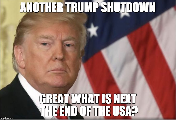 Trump Shutdown | ANOTHER TRUMP SHUTDOWN GREAT WHAT IS NEXT THE END OF THE USA? | image tagged in trump shutdown | made w/ Imgflip meme maker