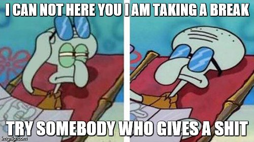 Squidward Don't Care | I CAN NOT HERE YOU I AM TAKING A BREAK TRY SOMEBODY WHO GIVES A SHIT | image tagged in squidward don't care | made w/ Imgflip meme maker