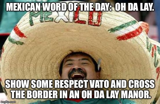 No need to run if you don't have a wall. | MEXICAN WORD OF THE DAY:  OH DA LAY. SHOW SOME RESPECT VATO AND CROSS THE BORDER IN AN OH DA LAY MANOR. | image tagged in happy mexican,mexican word of the day | made w/ Imgflip meme maker