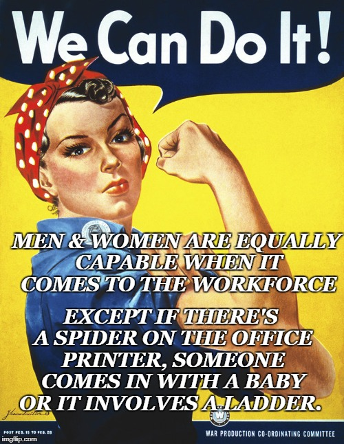 MEN & WOMEN ARE EQUALLY CAPABLE WHEN IT COMES TO THE WORKFORCE EXCEPT IF THERE'S A SPIDER ON THE OFFICE PRINTER, SOMEONE COMES IN WITH A BAB | image tagged in equality in the workforce | made w/ Imgflip meme maker