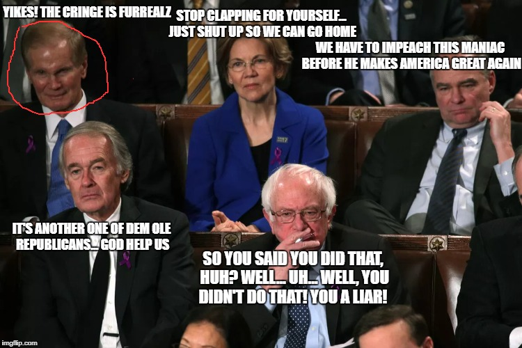 democrat reaction translator! | YIKES! THE CRINGE IS FURREALZ SO YOU SAID YOU DID THAT, HUH? WELL... UH... WELL, YOU DIDN'T DO THAT! YOU A LIAR! STOP CLAPPING FOR YOURSELF. | image tagged in state of the union,democrats | made w/ Imgflip meme maker