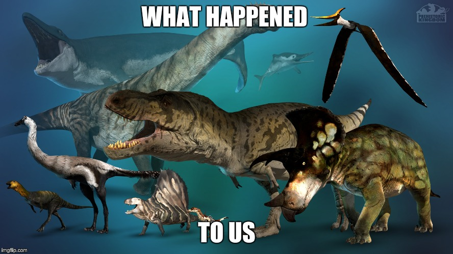 Prehistoric Kingdom Dinosaurs | WHAT HAPPENED TO US | image tagged in video games,dinosaurs,simulation,t-rex,colorful | made w/ Imgflip meme maker