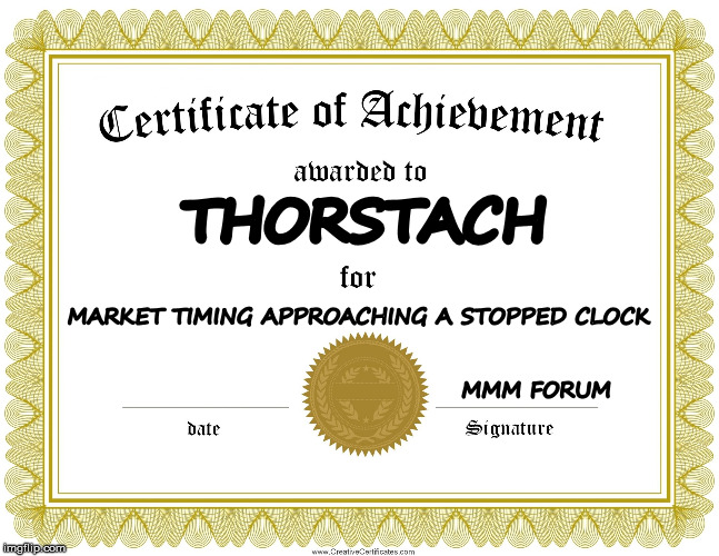 THORSTACH MARKET TIMING APPROACHING A STOPPED CLOCK                                                                                          | image tagged in certificate of achievement | made w/ Imgflip meme maker