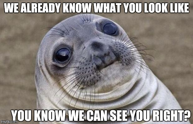 Awkward Moment Sealion Meme | WE ALREADY KNOW WHAT YOU LOOK LIKE YOU KNOW WE CAN SEE YOU RIGHT? | image tagged in memes,awkward moment sealion | made w/ Imgflip meme maker