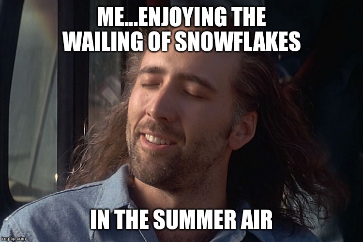 Crying Snowflakes  | ME...ENJOYING THE WAILING OF SNOWFLAKES IN THE SUMMER AIR | image tagged in nicholas cage wind in hair | made w/ Imgflip meme maker