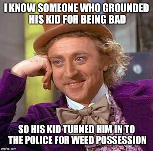 Creepy Condescending Wonka Meme | I KNOW SOMEONE WHO GROUNDED HIS KID FOR BEING BAD SO HIS KID TURNED HIM IN TO THE POLICE FOR WEED POSSESSION | image tagged in memes,creepy condescending wonka | made w/ Imgflip meme maker