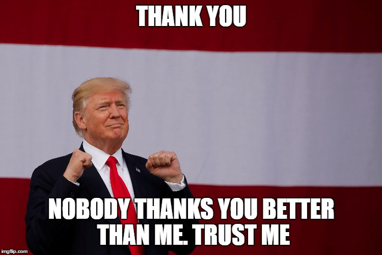 THANK YOU NOBODY THANKS YOU BETTER THAN ME. TRUST ME | image tagged in donald trump | made w/ Imgflip meme maker