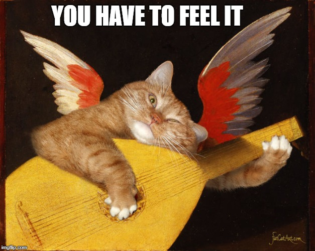 YOU HAVE TO FEEL IT | image tagged in fat cat art musical lute | made w/ Imgflip meme maker